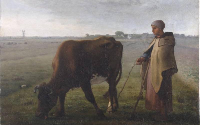 Jean-François Millet, La gardienne de vache, 1852, huile sur toile, INV. 859.1, Ville de Bourg-en-Bresse - Monastère royal de Brou ©Denis Vidalie1