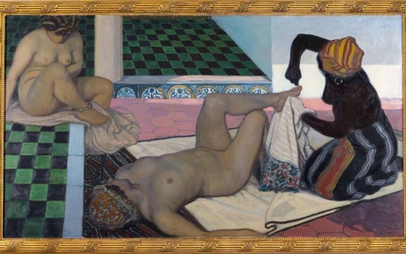 Jules Migonney, Le bain maure, 1911, huile sur toile, INV. 993.9,  Ville de Bourg-en-Bresse - Monastère royal de Brou ©Carine Monfray