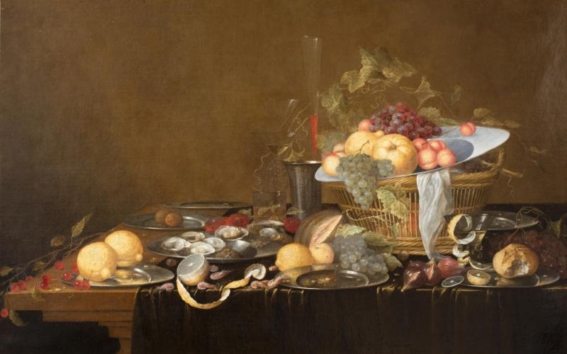 Georg Van Son, Nature morte aux fruits et aux huitres, fin XVIIe siècle, huile sur toile, INV.853.4, Ville de Bourg-en-Bresse - Monastère royal de Brou ©Carine Monfray